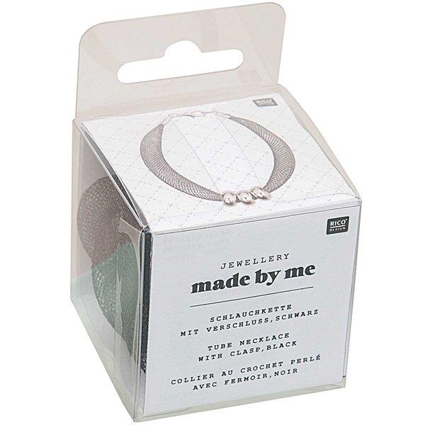Jewellery Made by Me Schlauchkette schwarz mit Verschluss 10mm 1m