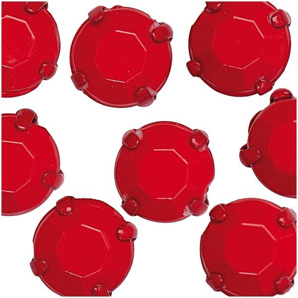 Jewellery Made by Me Aufnähsteine gefasst rot rund 8mm 15 Stück