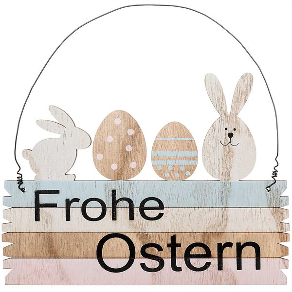 Holzschild Frohe Ostern mehrfarbig 21cm