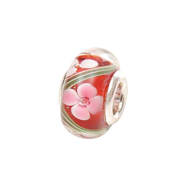 Rico Design Glasperle Blumen rosa-grün Ø=13mm