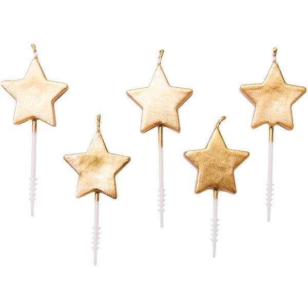 YEY! Let's Party Kerzen Sterne gold 5 Stück