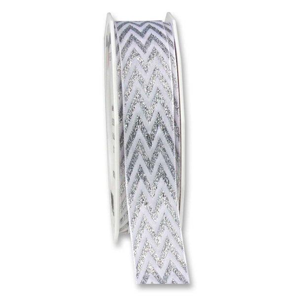 PRÄSENT Seidenband Chevron weiß-silber 25mm 3m
