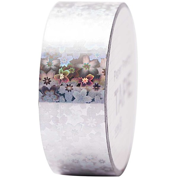 Paper Poetry Holographic Tape Blumen silber 19mm 10m