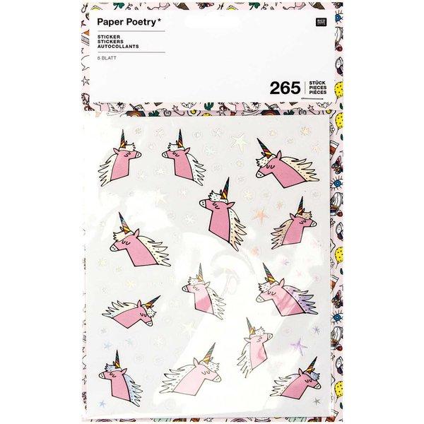Paper Poetry Sticker Einhorn 6 Blatt