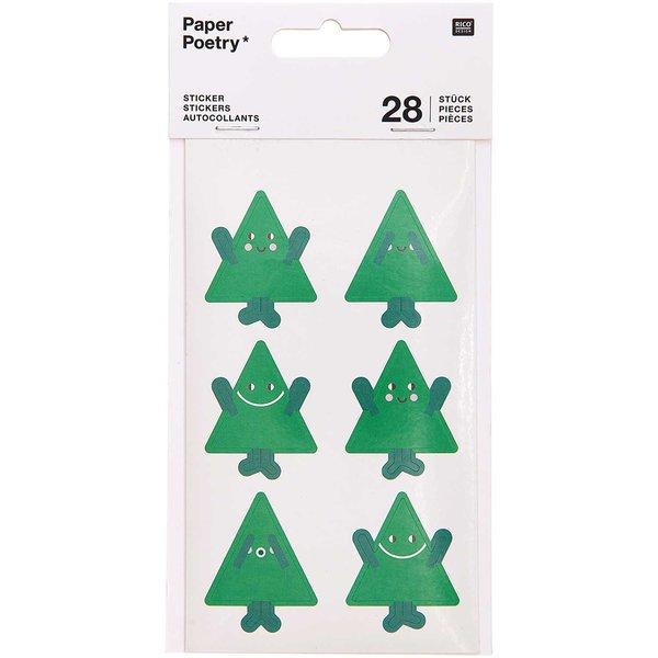 Paper Poetry Sticker Tannenbäume 4 Blatt