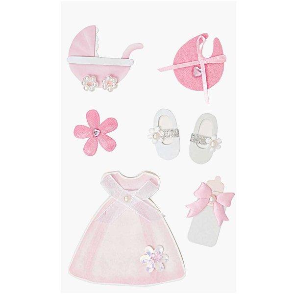 Paper Poetry Maxi 3D Sticker zur Geburt pink