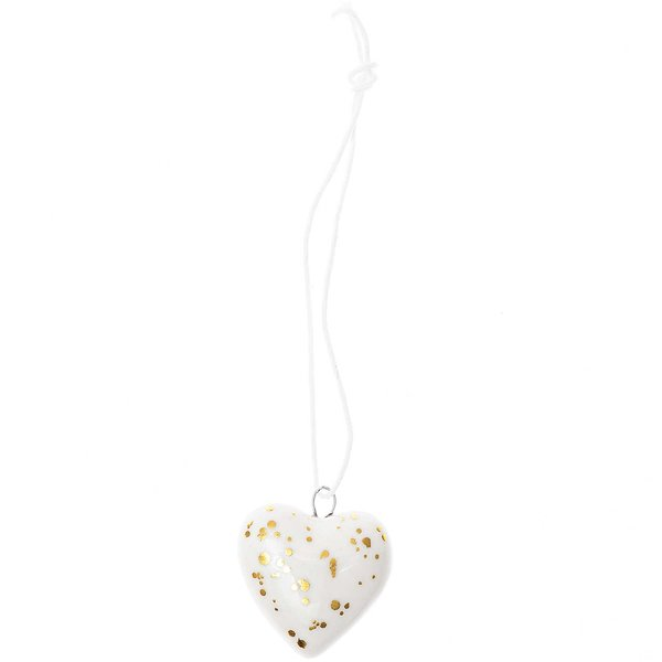 Ohhh! Lovely! Porzellanhänger Herz weiß-gold 1,5x3,5x11,5cm