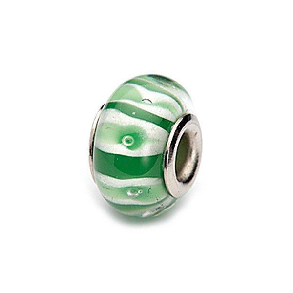 Rico Design Glasperle grün-weiß gestreift 16x11mm
