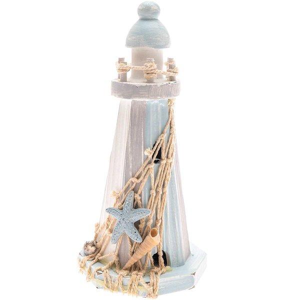 Leuchtturm blau-grau 17cm