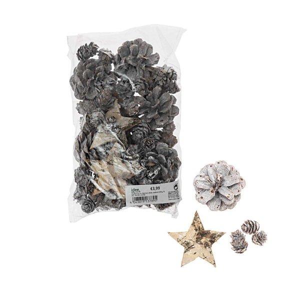 Zapfenmix mit Sternen white washed 100g