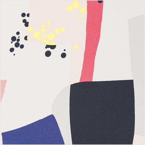 Rico Design Druckstoff Okina Hana Grafisches Muster groß hellgrau-neon 50x140 beschichtet