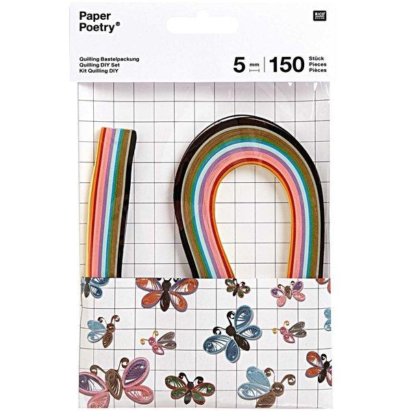 Paper Poetry Quilling Bastelset Schmetterlinge 5mm 150 Stück
