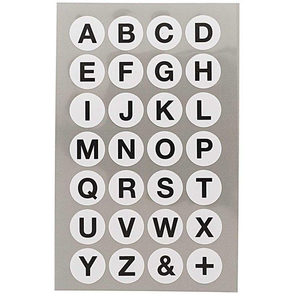 Paper Poetry Office Sticker Punkte weiß mit Alphabet 18mm 4 Bogen