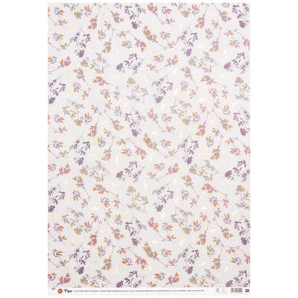 Rico Design Paper Patch Papier Blumen lila-orange 30x42cm
