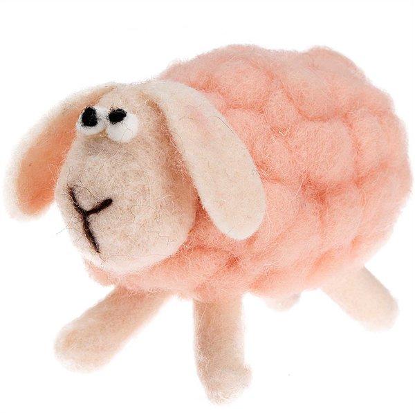 Schaf aus Filz rosa 14cm