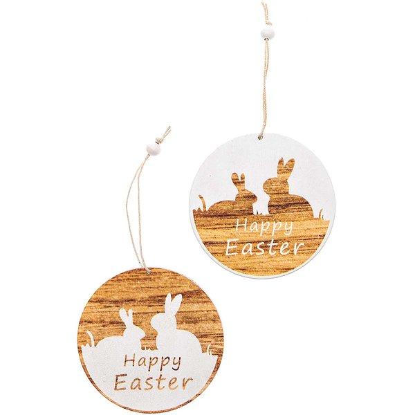 Hänger Happy Easter natur-weiß 9cm 2 Stück