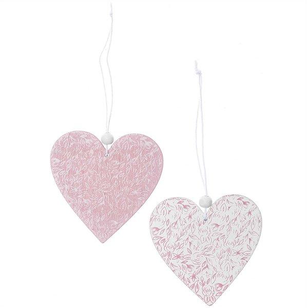 Herzen aus Holz zum Hängen rosa-weiß 8cm 2 Stück