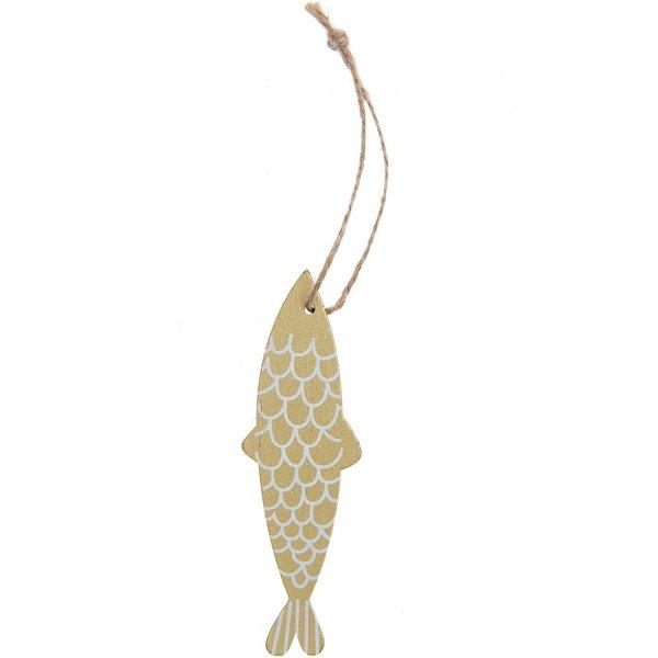 Ohhh! Lovely! Holzhänger Fisch schmal gold-weiß 3,3x11cm