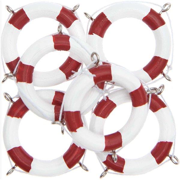 Ohhh! Lovely! Rettungsringe weiß-rot 4cm 6 Stück