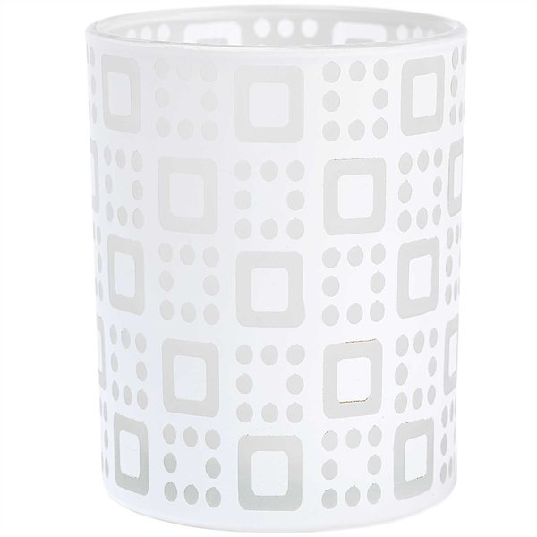 Windlicht mit grafischem Muster weiß 10x8cm