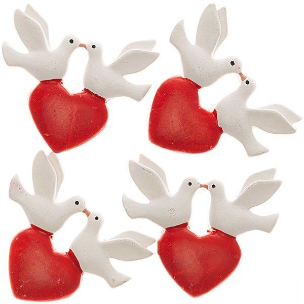 Herz mit Taubenpaar weiß-rot 4cm 4 Stück
