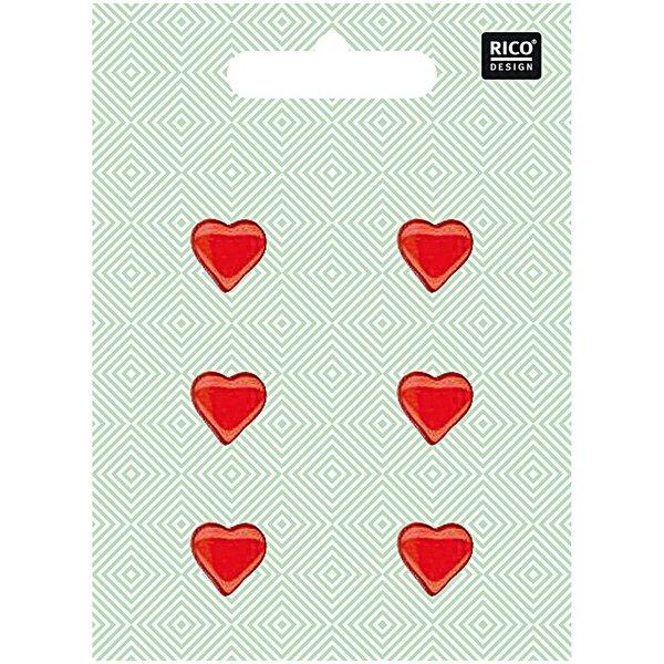 Rico Design Herzknöpfe rot 1,5cm 6 Stück