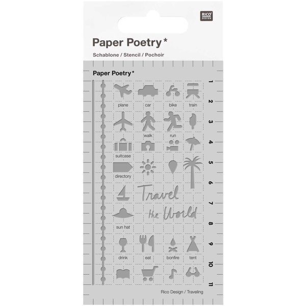 Paper Poetry Bullet Diary Schablone Travel 7x12cm