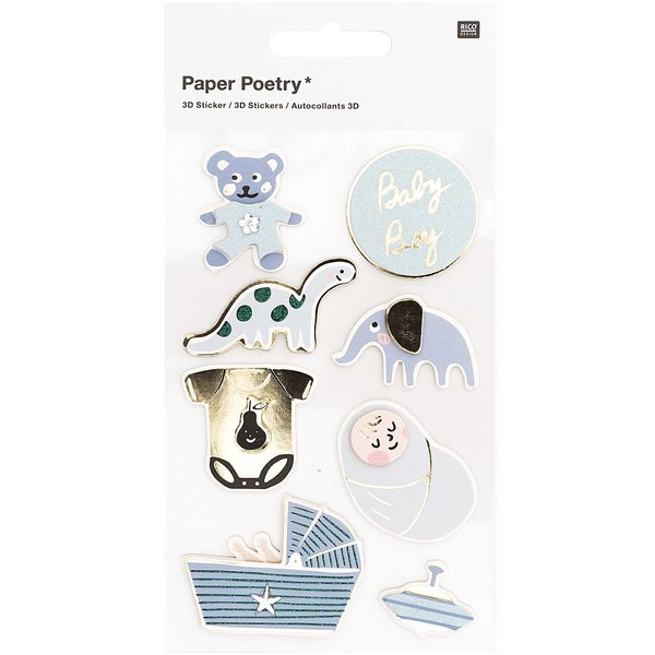 Paper Poetry 3D-Sticker Baby Junge 8 Stück