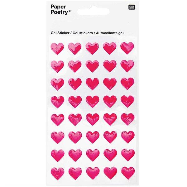 Paper Poetry Gelsticker Herzen neonpink