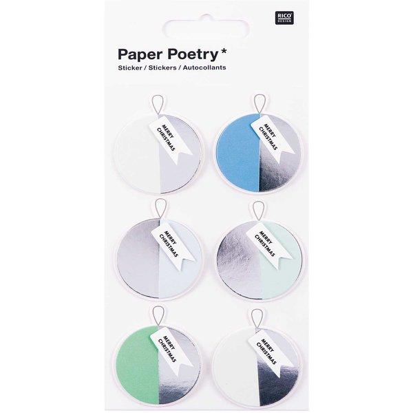 Paper Poetry 3D Sticker Kugeln blau-silber Hot Foil