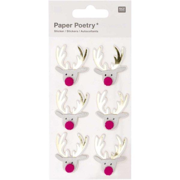 Paper Poetry 3D-Sticker Jolly Christmas Rentier 6 Stück