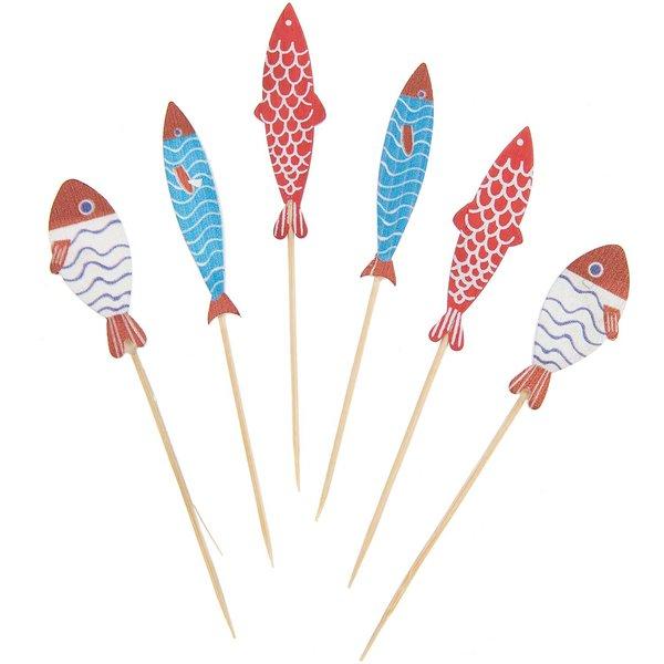 Ohhh! Lovely! Deko-Picker Fisch Mix rot-blau 7,5-8,5cm 6 Stück