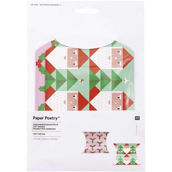 Paper Poetry Geschenkschachteln Merry Christmas groß 12x18cm 4 Stück