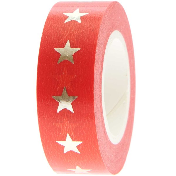 Paper Poetry Tape Sterne rot-gold 1,5cm 10m