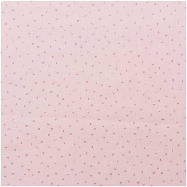 Rico Design Druckstoff Hygge Punkte rosa-metallic 140cm