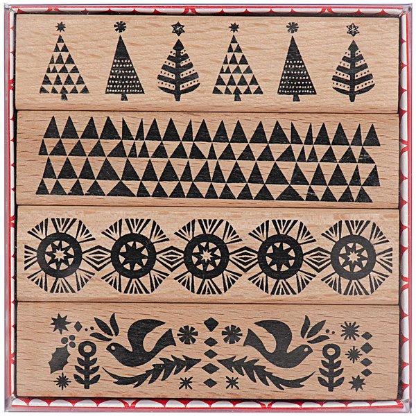 Paper Poetry Stempelset weihnachtliche Bordüren 2x8cm 4 Stück