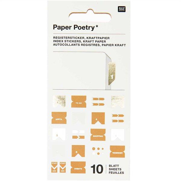 Paper Poetry Stickerbuch Register Kraftpapier 10 Blatt