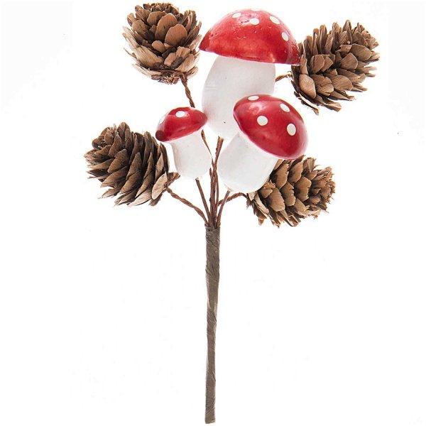 Pilz- und Zapfenpick natur-rot 18cm