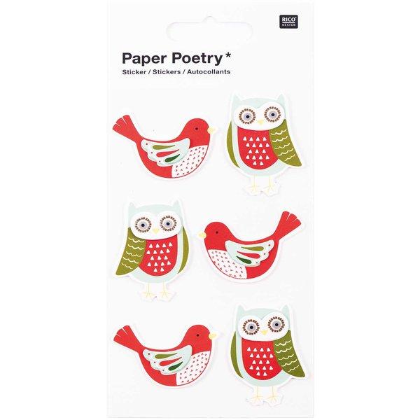 Paper Poetry 3D Sticker Eulen und Tauben