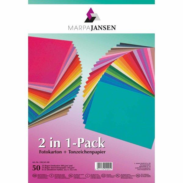 MARPA JANSEN 2in1 Fotokarton und Tonzeichenpapier 22,5x32,5cm 50 Blatt