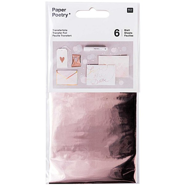 Paper Poetry Transferfolie roségold 9x15cm 6 Blatt