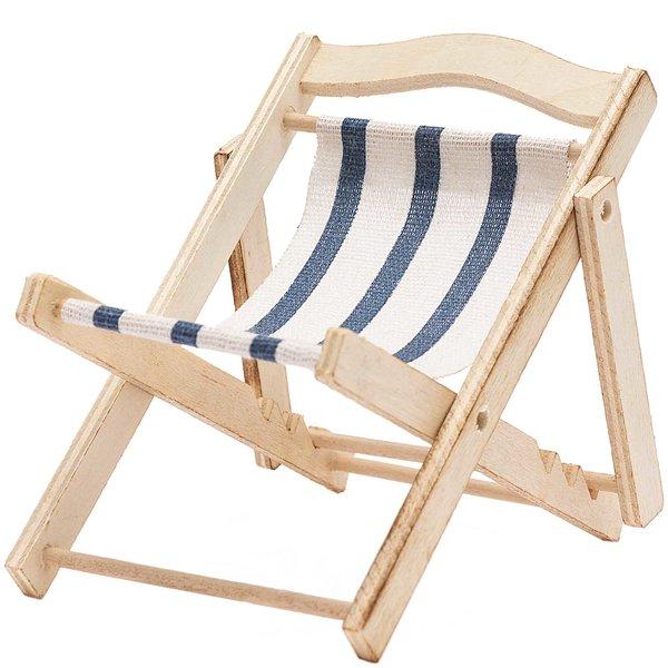 Liegestuhl blau-weiß gestreift 13x10cm