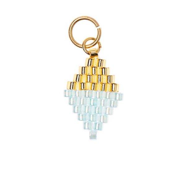 Mix it Up - Jewellery Brick Stitch Raute gold-blau 10x15mm