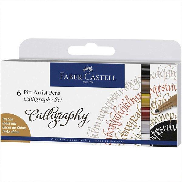 Faber Castell Tuschestift Pitt Artist Pen Calligraphy 6 Stück