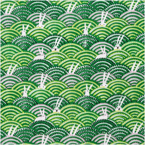 Rico Design Musselin-Druckstoff Bunny Hop Hasen im Feld grün 140cm