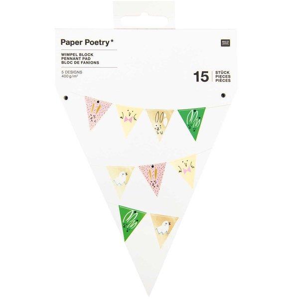 Paper Poetry Wimpel-Block Bunny Hop 13x14,7cm 15 Stück