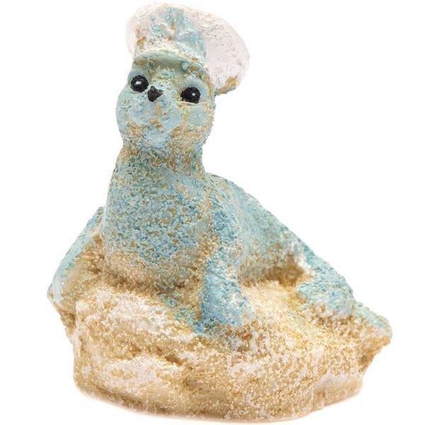 Seelöwe auf Stein Polyresin blau-weiß 4cm