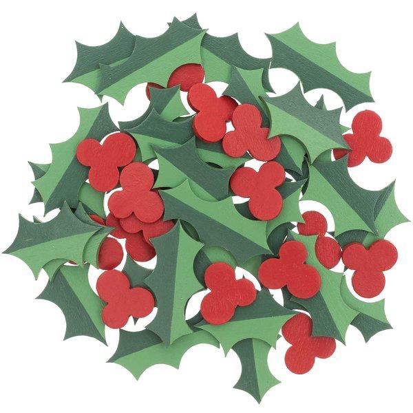 Ohhh! Lovely! Holzstreu Ilex grün-rot 48 Stück