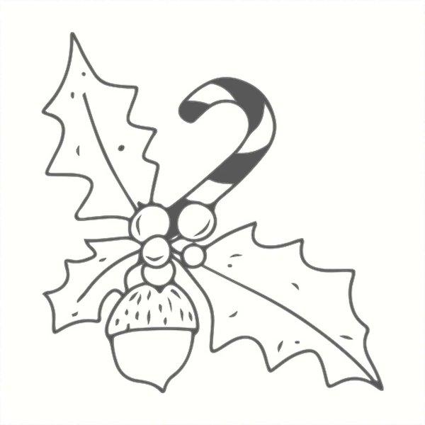 May&Berry Stempel Ilex mit Zuckerstange weiß 45x45mm