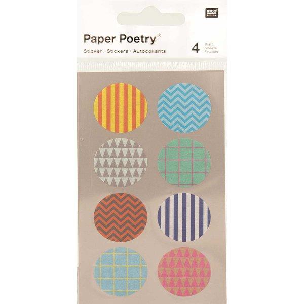 Paper Poetry Washi Sticker gemustert rund 4 Bogen